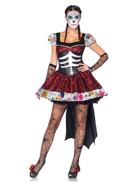 Day Of The Dead Costume Sugar Skull Costume Halloween Women's Floral Ruched Dress Skeleton Costume