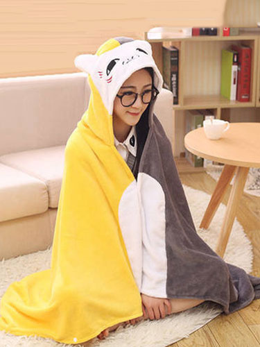 Kigurumi Onesie Pajamas Cat Snuggies Flannel Yellow Color Block Adult Poncho Cape Animal Costume фото