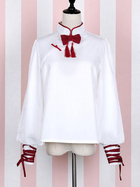 White Lolita Blouse Mandarin Collar Tassel Bow Balloon Sleeve Lolita Top фото