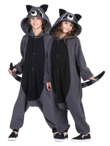Kigurumi Pajama Racoon Onesie Snuggie Grey Flannel Animal Sleepwear For Adult фото