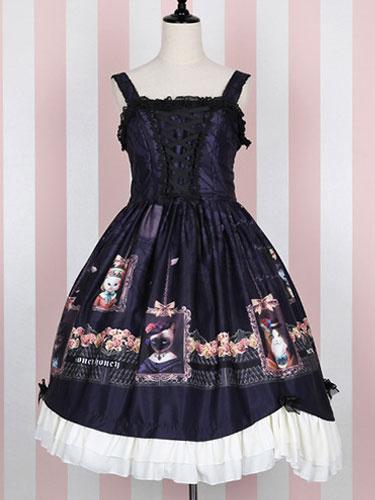Classical Lolita Dress Blue Lolita Drses Countess Lace Trim Bow Printed Lolita Dress Milanoo