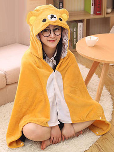 Bear Kigurumi Costume Orange Animal Snuggies Flannel Poncho Cape Adult Onesie Pajamas фото