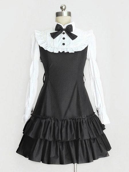 Classic Lolita Dress OP Black Lolita Dress High Collar Long Sleeve Tiered Ruffle Lolita One Piece Dr фото