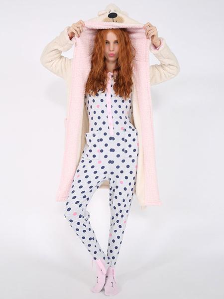 Kigurumi Pajama Bear Onesie Snuggie White Flannel Animal Sleepwear For Adult фото