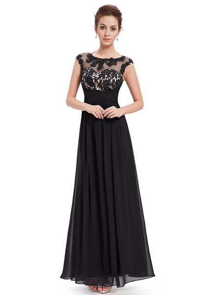 Black Evening Dress Chiffon Lace Applique Mother's Dress Illusion Sweetheart A Line Sleeveless Ankle
