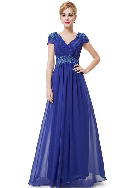 Blue Formal Evening Dress Chiffon Lace Applique Mother Of The Bride Dresses Pleated V Neck Cap Sleev фото