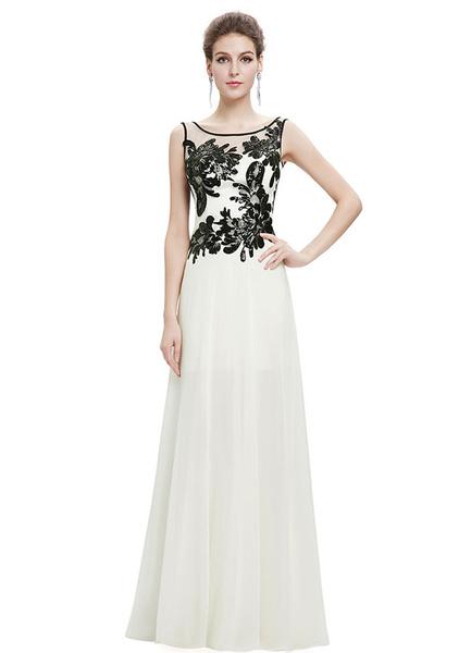 Ivory Evening Dresses Lace Applique Formal Dresses Chiffon Illusion Sleeveless A Line Floor Length P