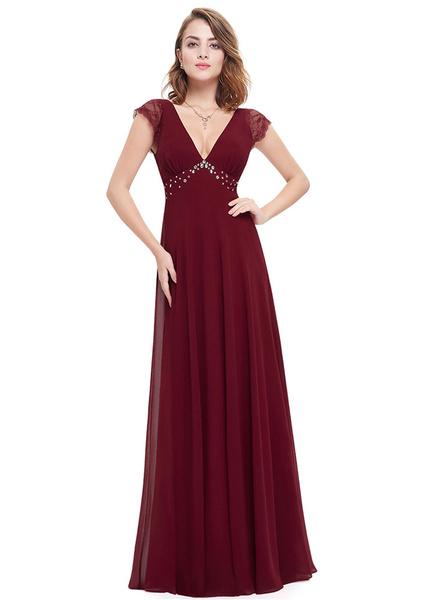 Fabelhaftes Abendkleid aus mit V-Ausschnitt und Falten und Perlen-Applikation bodenlang in Burgunder