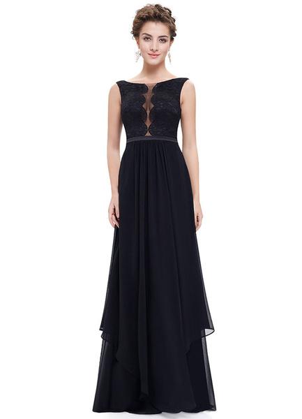 Attraktives Abendkleid aus mit Bateau-Kragen und Spitzen Cutouts bodenlang in Schwarz