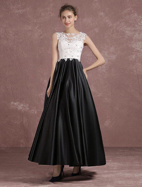 Black Prom Dress Beaded Floor Length Homecomin Dress Illusion Neck Applique Sleeveless Pleated Satin
