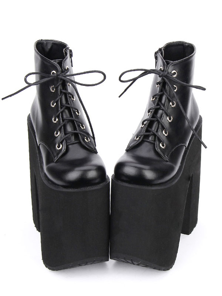 Black Lolita Booties Platform Chunky Heel Round Toe Lace Up Lolita Short Boots фото