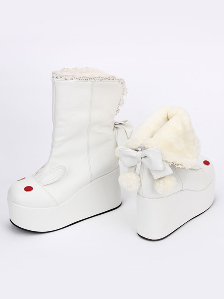 White Lolita Booties Platform Round Toe Bunny Pattern Lolita Short Boots With Bow фото