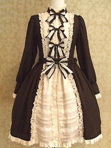 Sweet Lolita Dress Black Lolita Dress OP Cotton Long Sleeve Bow Ruffle Hem Lolita One Piece Dress фото