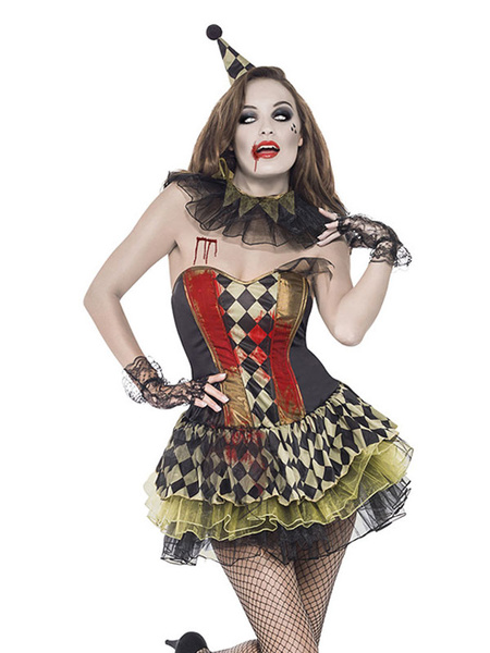 Day Of The Dead Costume Carnival Circus Clown Costume Strapless Plaid Mini Dress Cosplay Costume For