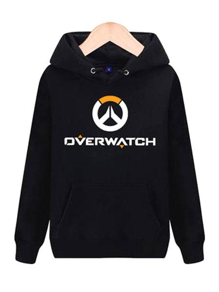 Overwatch OW Logo Black Cotton Blend Hoodie Blizzard Video Game Hoodie Halloween