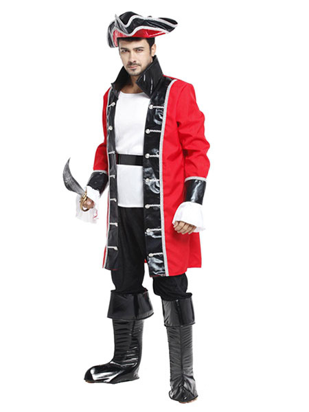 Halloween Pirate Costume Men's Red Captain Costume Outfit фото