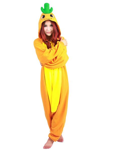 Kigurumi Pajamas Plant Carrot Costume Orange Polar Fleece Long Sleeve Sleepwear Costume For Adults фото