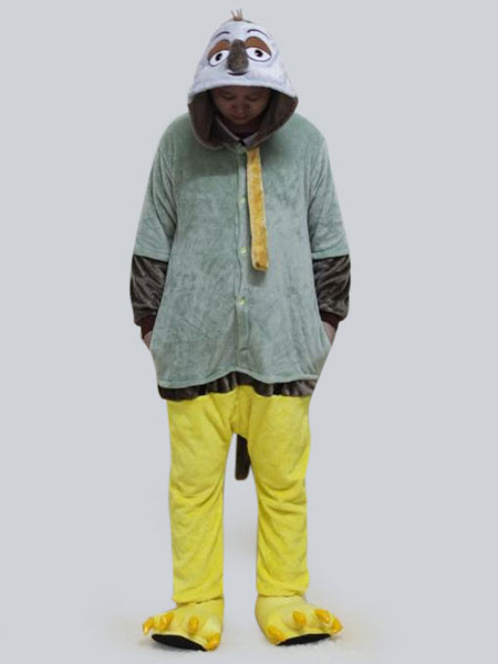 Kigurumi Pajamas Sloth Onesie Green Flannel Long Sleeve Sleepwear For Adults фото