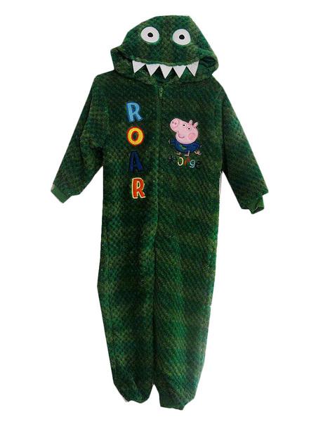 Kigurumi Pajamas Dinosaur Onesie Green Flannel Sleepwear Costume For Kids фото