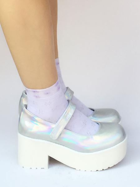 Scarpe da Lolita argente rotondo tacco largo zeppa PU 8cm