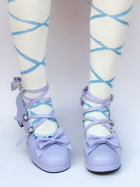 Purple Lolita Shoes Cross Strap Chunky Heel Bow Sweet Lolita Pumps Shoes фото