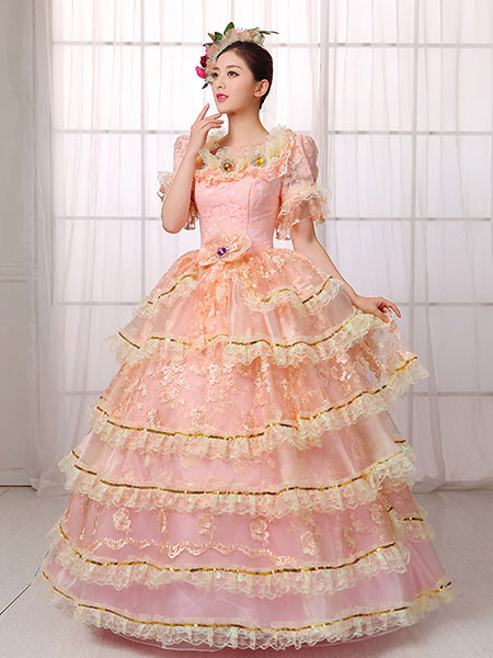 Women's Vintage Costume Victorian Royal Halloween Ball Gown Pink Lace Ruffled Pageant Dress фото