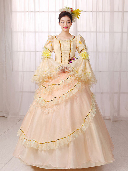 Women's Vintage Costume Victorian Royal Halloween Ball Gown Apricot Pageant Dress фото