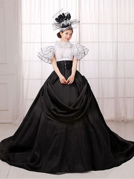 Women's Vintage Costume Victorian Ball Gown Black Dress Retro Costume фото