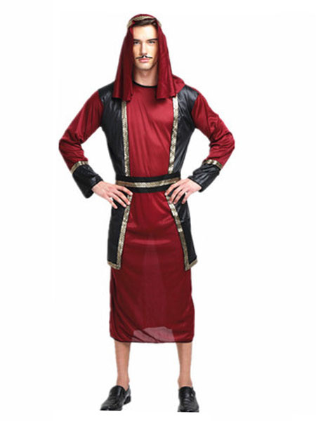 Arabian Night Costume Halloween Men's Burgundy Gown Outfit Asian Costume фото