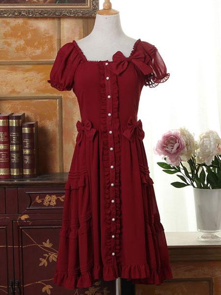 Sweet Lolita Dress OP Burgundy Short Sleeve Lolita One Piece Dress фото