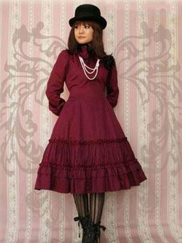 Classic Lolita Dress OP Burgundy Long Sleeve Lolita One Piece Dress Milanoo
