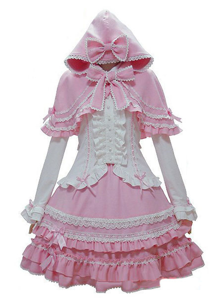 Sweet Lolita Oufits Pink Lolita Top With Skirt And Cape фото