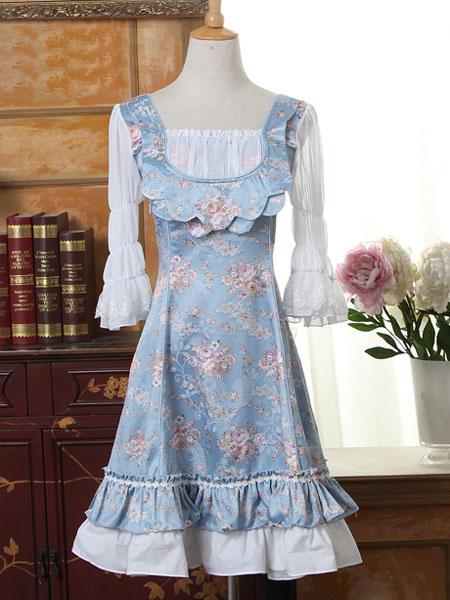 Sweet Lolita Dress OP Blue 3/4 Length Sleeve Lolita One Piece Dress фото
