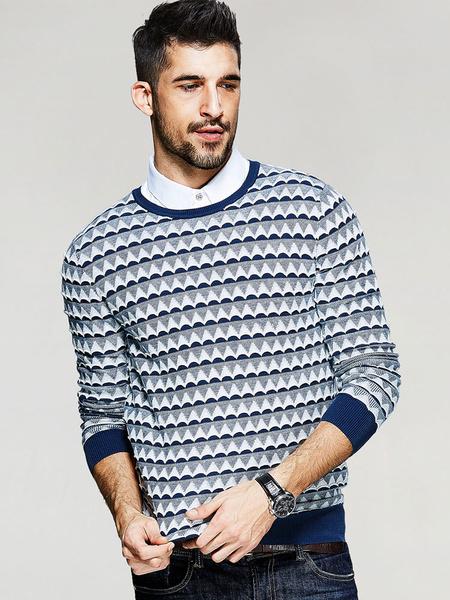 Мужской пуловер свитер в полоску Зигзаг хлопок crewneck вязаный джемпер