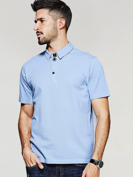 Blue Polo Shirt Men's Turndown Collar Short Sleeve Casual Top фото