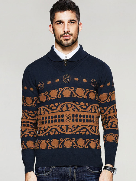 Men's Knitted Polo Button Long Sleeve Printed Pullover Sweater фото