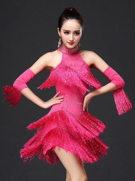 Latin Dance Costume Women's Rose Red Fringe Dress With Armwear фото