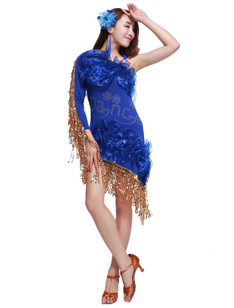 Latin Dance Costume Women's Royal Blue Fringe Sequined Dress фото