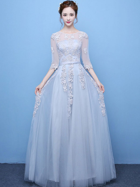 Light Grey Prom Dress Lace Applique Tulle Illusion Half Sleeve Floor Length Party Dress