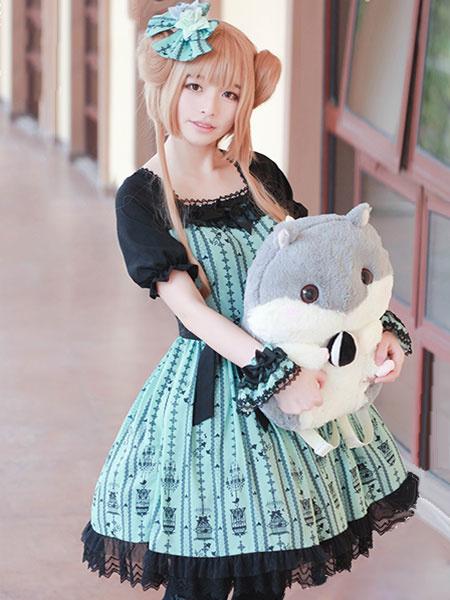 Sweet Lolita Dress Cutting Pink Is Black OP Chiffon Lace Ruffles Lolita One Piece Dress фото