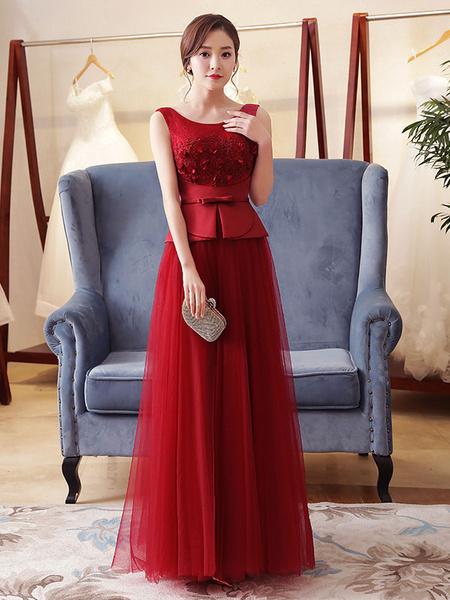 Burgundy Evening Dress Peplum Tulle Lace Applique Formal Dress Sleeveless Floor Length Long Prom Dre