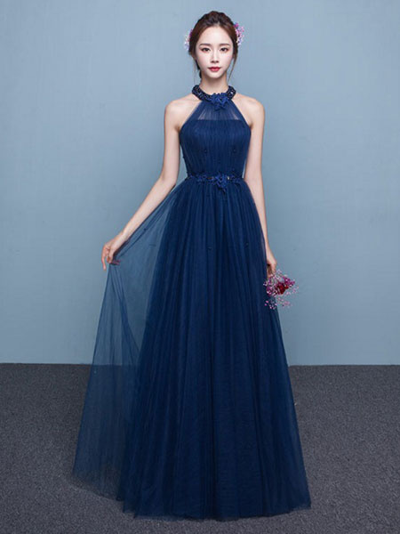 Blue Prom Dress 2017 Long Tulle Beading Occasion Dress Halter Sash Floor Length Party Dress фото