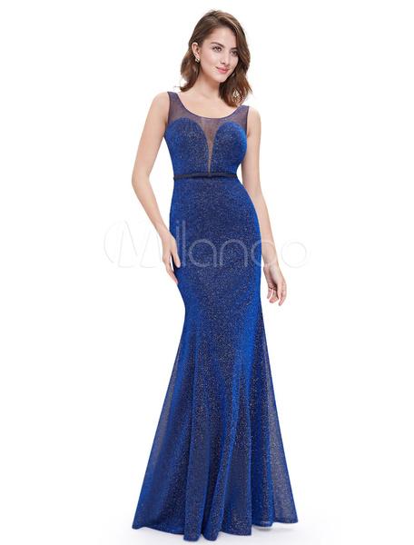 Elegantes Abendkleid aus Illusion Ausschnitt mit Kunstdiamanten Cutouts bodenlang in Blau