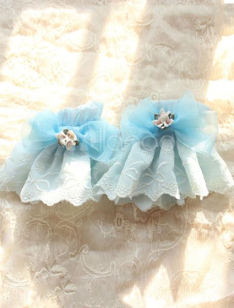 Sweet Lolita Oversleeve Light Blue Lace Flower Bow Lolita Accessory фото