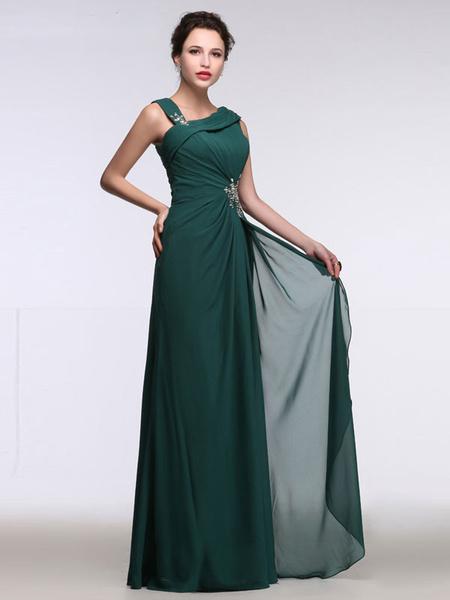 Hübsches Abendkleid aus Chiffon Designender Ausschnitt mit Perlen-Applikation und senkrechten Falten