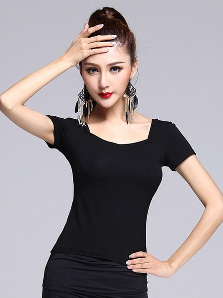 Latin Dance Costume Black Short Sleeve Latin Dance Top фото