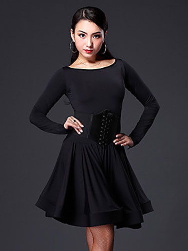 Latin Dance Dress Women's Black Long Sleeve Flared Dance Costume With Knee High Socks ( Belt Exclude фото