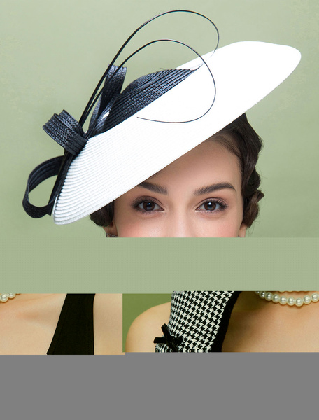 Vintage Flapper Hat White Color Block Knotted Headpiece Bowler Hat фото