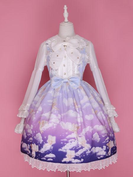 Lolita Abito con Spalline blu in chiffon dolce abito con stampe collo squadrato