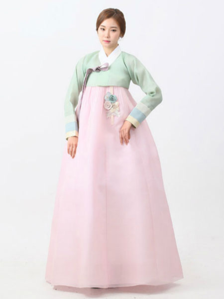 Halloween Korean Costume Chiffon Soft Green Surplice Top With Soft Pink A Line Maxi Skirt фото